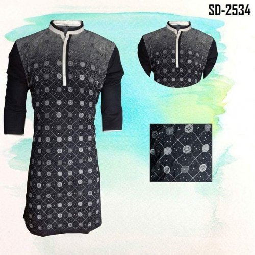 Designers stylish Printed Cotton Panjabi-2534