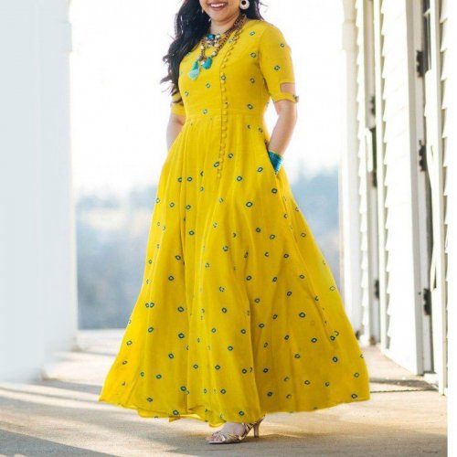 Yellow Stylish Georgette Designed Embroidery Long Salwar Suit
