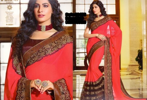 Georgette and embroidery work saree ssc-733