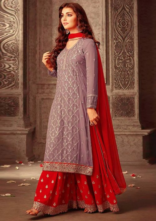 RED AND GREY EMBROIDERED Georgette SUIT