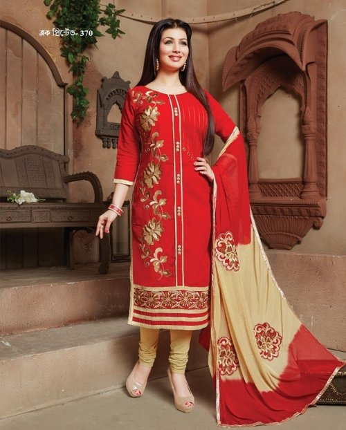 unstiched block printed cotton replica three pcs salwar kameez seblock-370