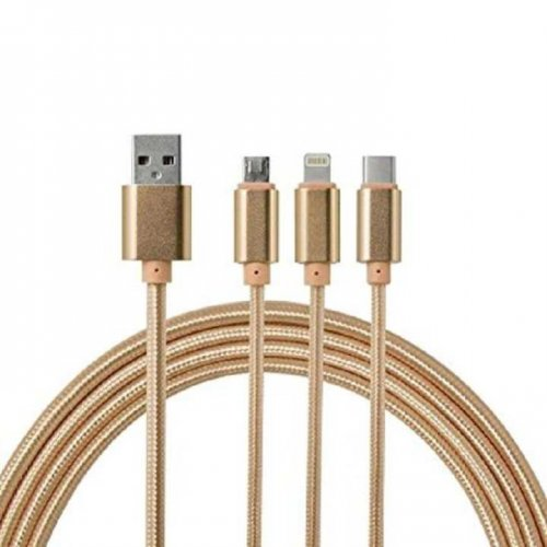 3 in 1 Braided Multi USB Charging Cable with Lighting Micro USB Type C - Golden