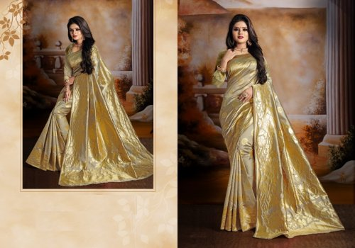 Peanut and Golden Embroidery Work Katan Saree For Women