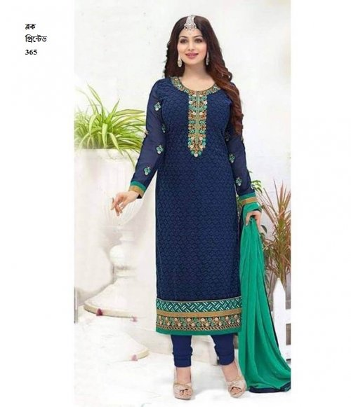unstiched block printed cotton replica three pcs salwar kameez seblock-365