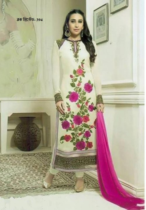 unstiched block printed cotton replica three pcs salwar kameez seblock-394