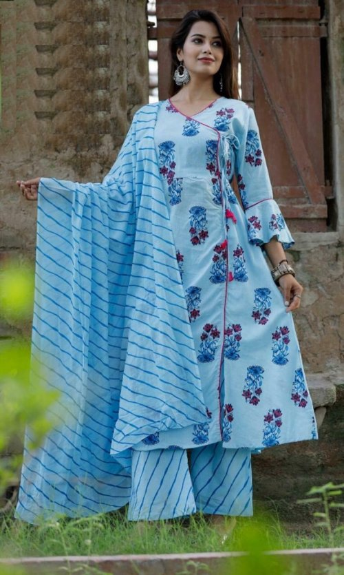 Latest Sky Blue Block Printed Salwar Kameez For Women-free size