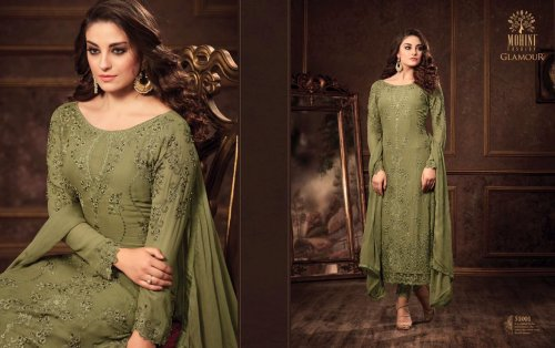 Unstitched Bottle Green Georgette Three Piece for woman