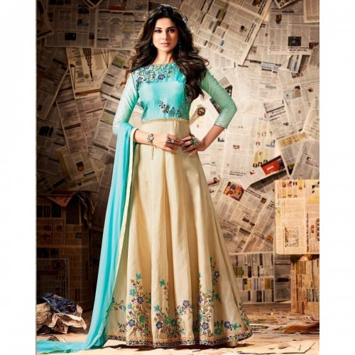 Jennifer Winget Banarasi Silk Beige & Turquoise Embroidered Long Anarkali Suit