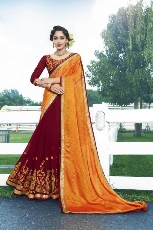 Georgette and embroidery work saree nsc-713