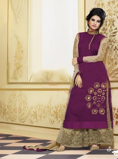 purple embroidery worked Palazzo salwar suit