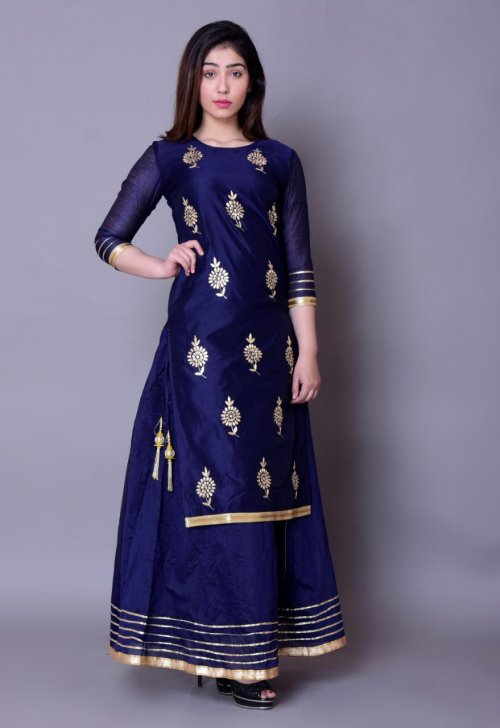 Latest Blue Block Printed 2 Piece Salwar Kameez for Women-free size