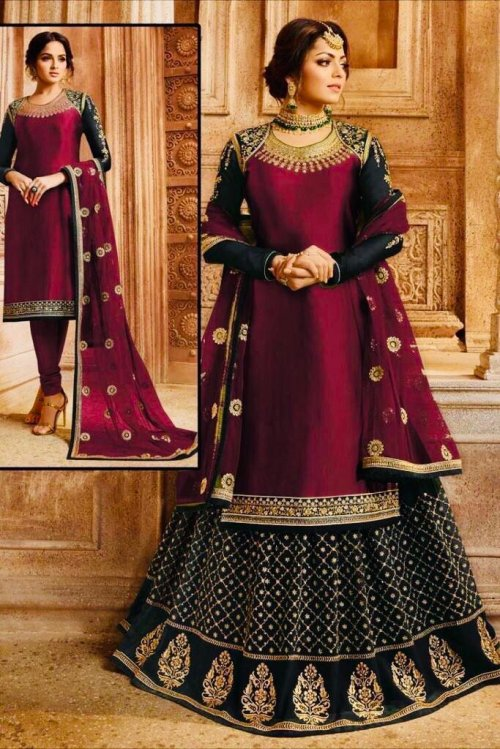 DRASHTI DHAMI BLACK GEORGETTE SATIN EMBROIDERED SHARARA SUIT