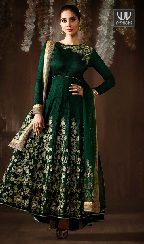 Aadya Couture Green Color Raw Silk Emroidered Semistitched Salwar Kameez