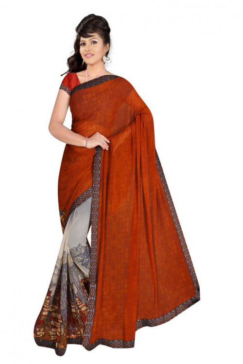 Indian Rust And Ash Color Silk Printed saree For women