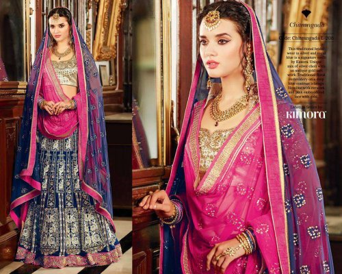 Royal Blue and Pink Bridal Lehenga with Blouse