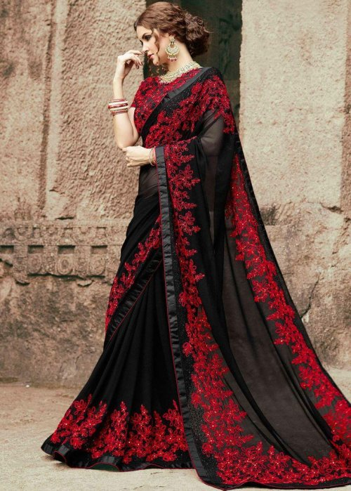 Weight Less Georgette Embroidery Saree