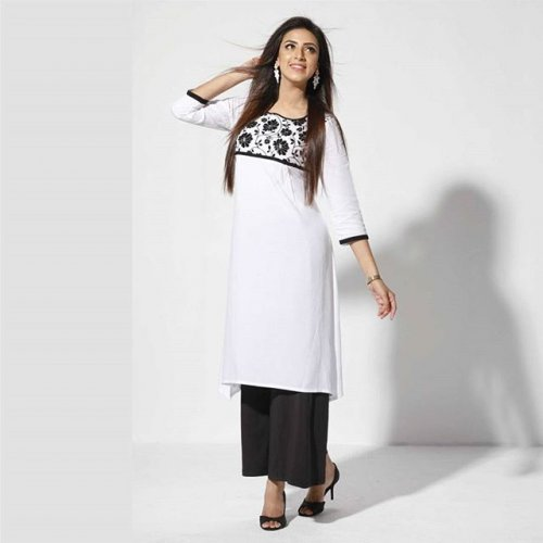 Women's Kameez White & black color combination design