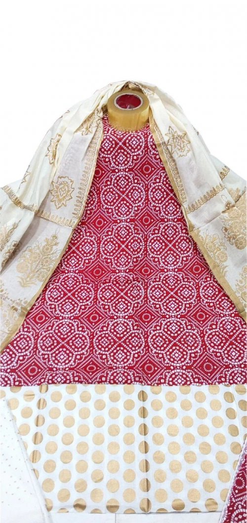 Unstiched block printed salwar kameez for woman