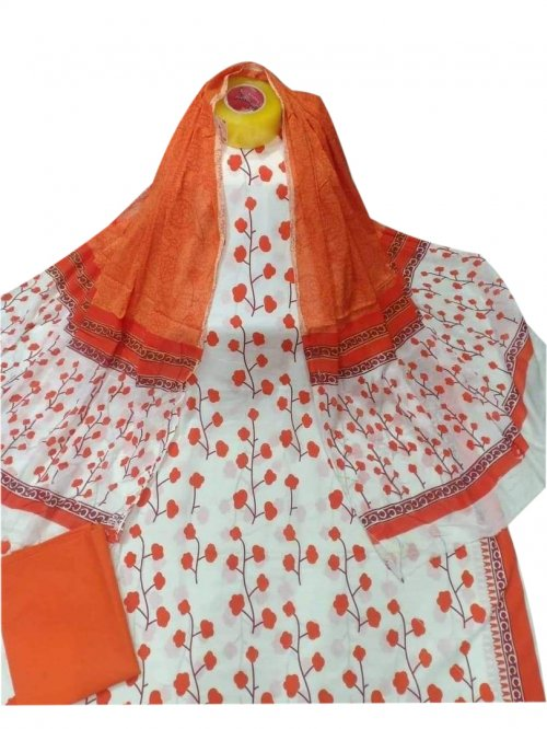 Latest Designed White And Orange High Quality Cotton Salwar Kameez for Women