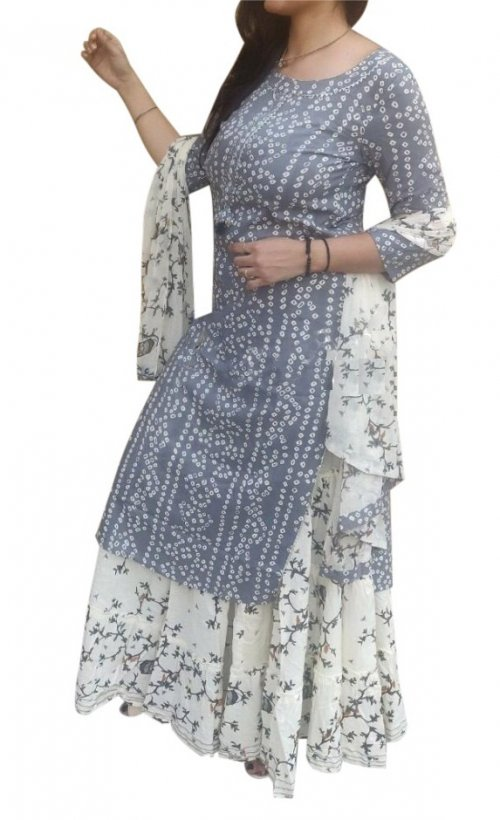 Latest Ash Block And White Printed Salwar Kameez For Women-free size