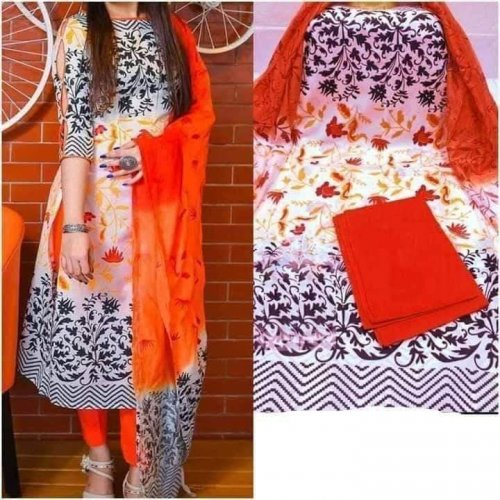Latest Designed White,Black And Orange High Quality Cotton Salwar Kameez for Women