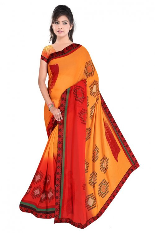 Indian Red And Yellow Silk Printed saree For women