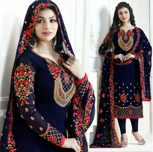 Ayesha Takia Semi stitched Straight Cut Salwar Suits Blue