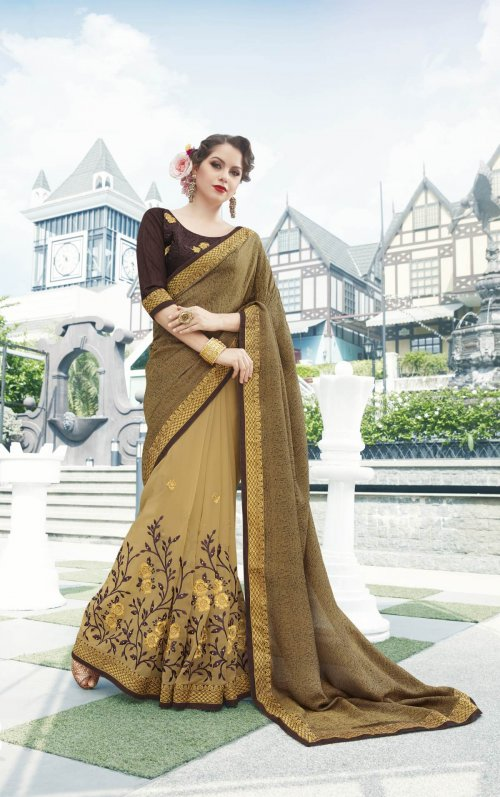 Georgette and embroidery work saree nsc-721