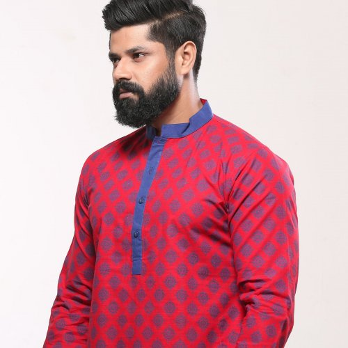 Men's Cotton Punjabi - Red Blue Ethnic Print