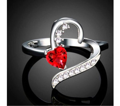 silver color red stone finger ring