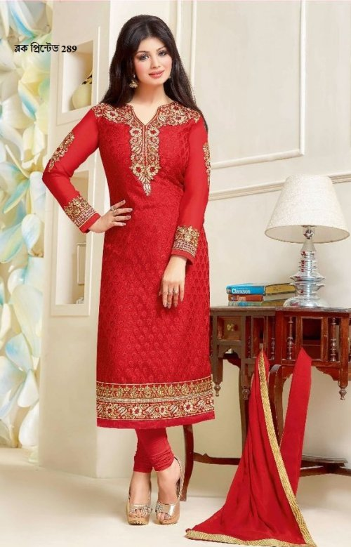 unstiched block printed cotton replica three pcs salwar kameez seblock-289