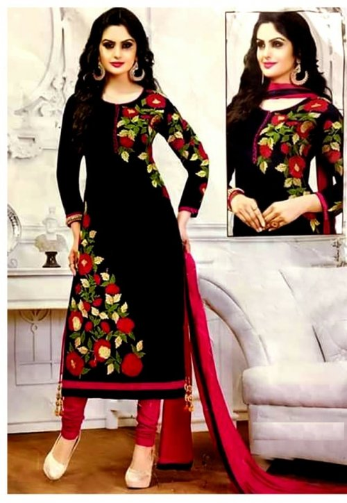 unstitched hand printed cotton replica salwar kameez seblock-609