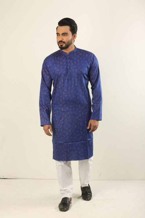 Cotton Punjabi - Royal Blue And Gold