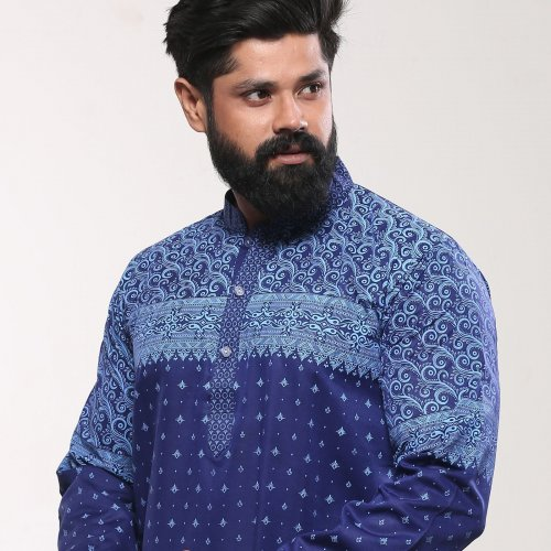 Mens Cotton Punjabi - Naby Blue Block Print
