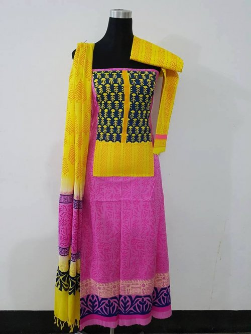 unstiched block printed cotton replica three pcs salwar kameez seblock-566