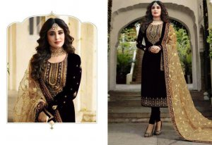 Unstitched Georgette Party Wear Designer Churidar Salwar Suit Black