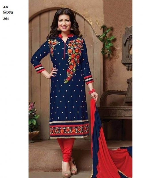 unstiched block printed cotton replica three pcs salwar kameez seblock-364