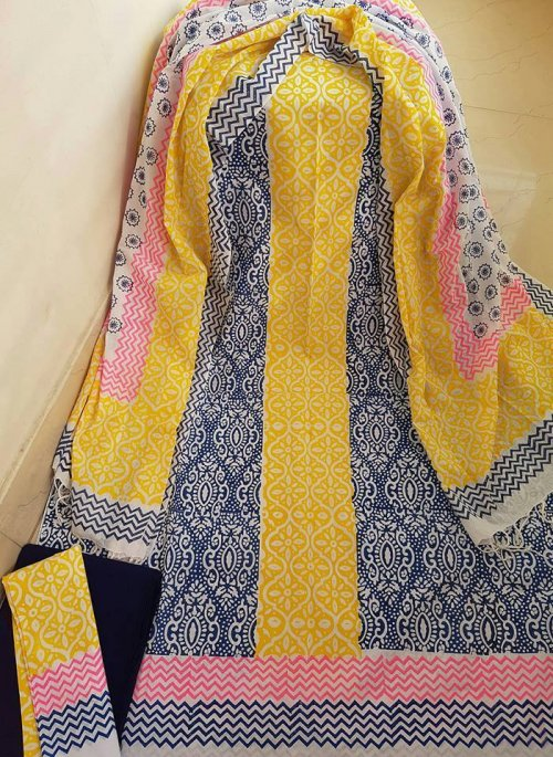 unstiched block printed cotton replica three pcs salwar kameez seblock-534