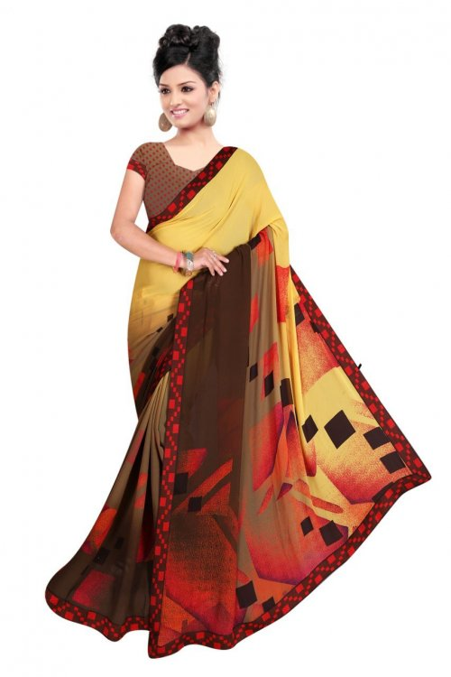 Indian Multi Color Georgette Printed saree For women