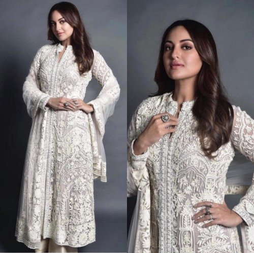 Sonakshi Sinha Elegantly Gorgeous white Party Wear Salwar Suit For women