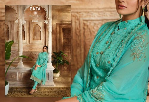 Khwaish by ekta 2501 series fancy embroidery salwar kameez