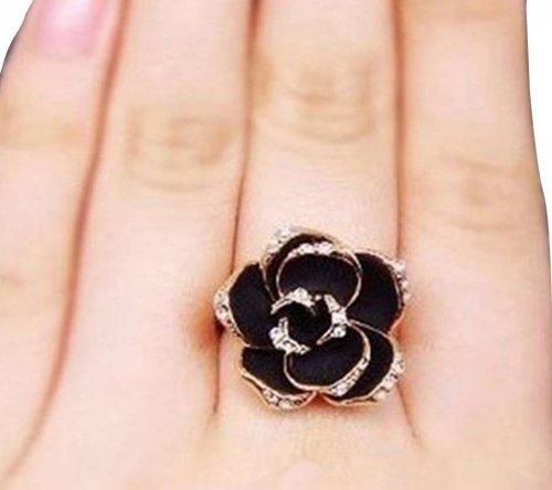 rose flower finger ring black