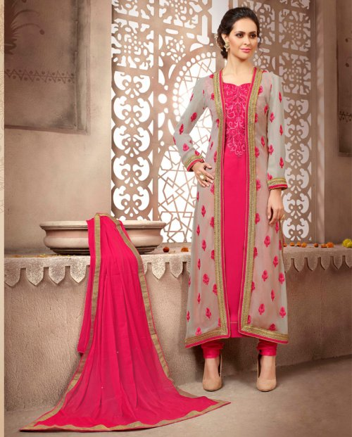 Pink Faux Georgette Jacket Style Straight Suit M-22001