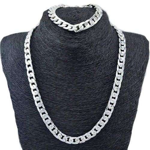 Real 9K Silver Chains- Filled Men's Bracelet & Necklace 21.5