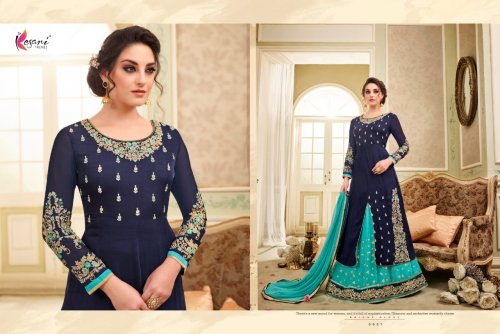 navy blue un-stitched kesari trendz georgette with embroidery salwar suit