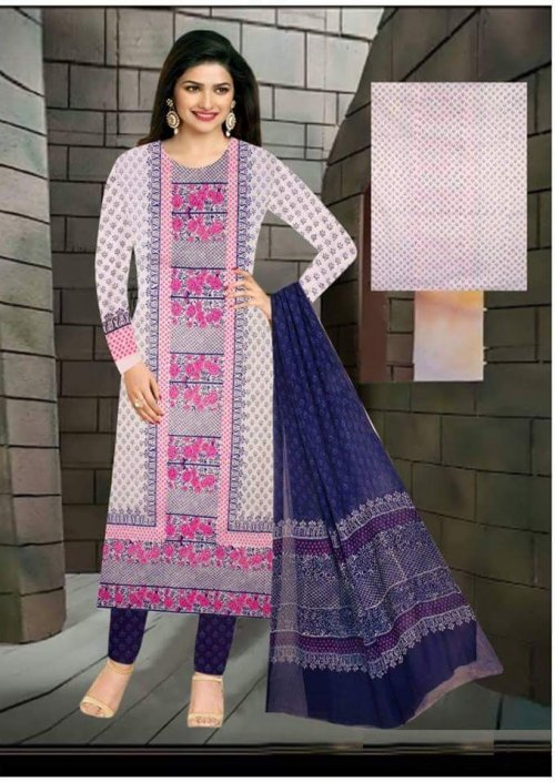 Unstiched block printed cotton replica salwar kameez seblock-624