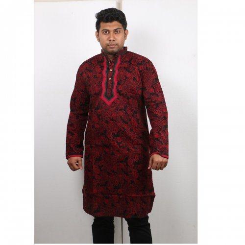 red and black Cotton Casual Long Panjabi for Men mfz-102