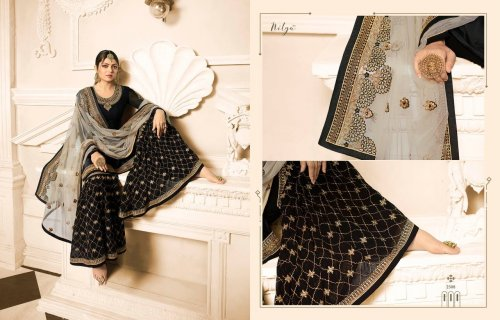 Black Beauty Overall Designer Gharara Palazzo Suit