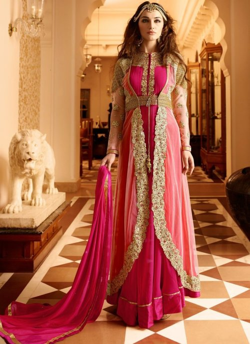 Pink Color Long Length Anarkali Salwar Suit