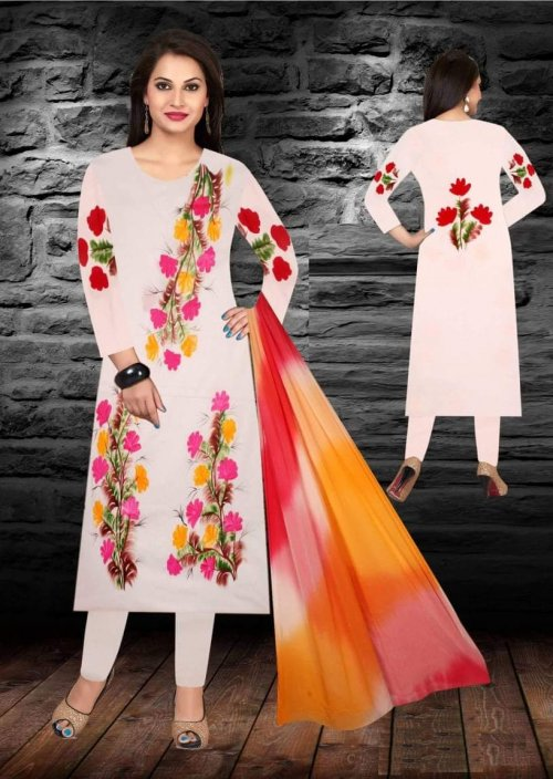 Unstiched brush printed cotton replica salwar kameez seblock-621